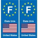 F Europe Usa sticker plate