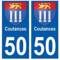 50 Coutances blason autocollant plaque stickers ville