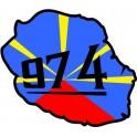 Réunion ile carte drapeau 974 logo 12 autocollant adhésif sticker