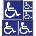 Adesivo logo Disabili quadrato sfondo blu Hancicap Disabili e a Mobilità ridotta adesivi adesivo