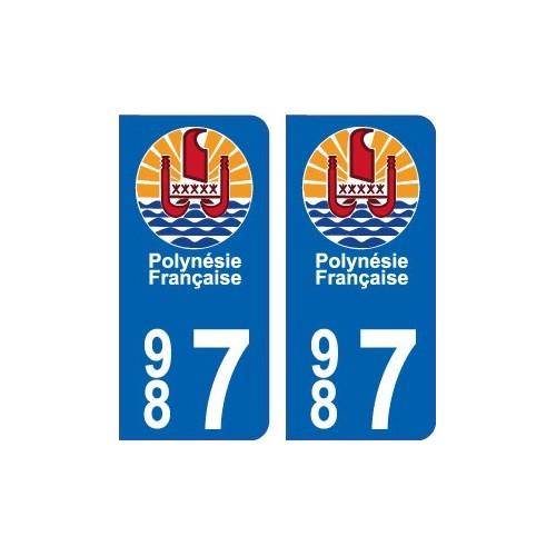 987 Polynésie autocollant plaque