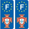 F FPF doré Portugal foot autocollant plaque