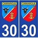 Sticker plate auto coat of arms Camargue number department choice