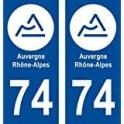 74 Haute Savoie Rhône Alpes nouveau logo 3 sticker autocollant plaque rond blanc