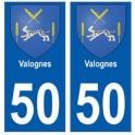 50 Valognes blason autocollant plaque stickers ville