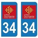 34 Occitanie nouveau logo autocollant plaque immatriculation auto ville sticker
