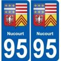 95 Nucourt blason autocollant plaque stickers ville