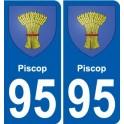 95 Piscop blason autocollant plaque stickers ville