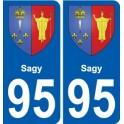 95 Sagy blason autocollant plaque stickers ville