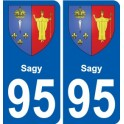 95 Sagy coat of arms sticker plate stickers city