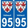 95 Vétheuil blason autocollant plaque stickers ville