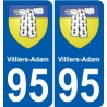 95 Villiers-Adam coat of arms sticker plate stickers city