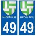 49 Les Ponts-de-Cé blason autocollant plaque stickers ville