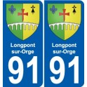 91 Longpont-sur-Orge coat of arms sticker plate stickers city
