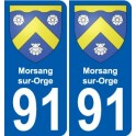 91 Morsang-sur-Orge coat of arms sticker plate stickers city
