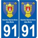 91 Sainte-Geneviève-des-Bois stemma adesivo piastra adesivi città