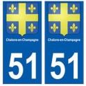 51 Chalons-en-Champagne blason autocollant plaque stickers ville