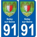 91 Soisy-sur-Seine coat of arms sticker plate stickers city