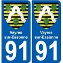91 Vayres-sur-Essonne coat of arms sticker plate stickers city