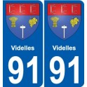 91 Videlles coat of arms sticker plate stickers city