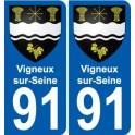 91 Vigneux-sur-Seine coat of arms sticker plate stickers city