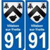91 Villebon-sur-Yvette coat of arms sticker plate stickers city