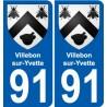 91 Villebon-sur-Yvette escudo de armas de la etiqueta engomada de la placa de pegatinas de la ciudad