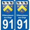 91 Villemoisson-sur-Orge coat of arms sticker plate stickers city