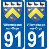 91 Villemoisson-sur-Orge escudo de armas de la etiqueta engomada de la placa de pegatinas de la ciudad