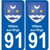 91 Villiers-sur-Orge coat of arms sticker plate stickers city