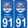 91 Villiers-sur-Orge escudo de armas de la etiqueta engomada de la placa de pegatinas de la ciudad