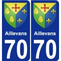 70 Aillevans coat of arms sticker plate stickers city