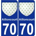 70 Ailloncourt coat of arms sticker plate stickers city