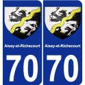 70 Aisey-et-Richecourt coat of arms sticker plate stickers city