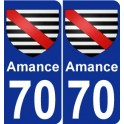 70 Amance coat of arms sticker plate stickers city
