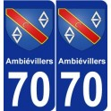 70 Ambiévillers coat of arms sticker plate stickers city
