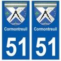 51 Cormontreuil blason autocollant plaque stickers ville