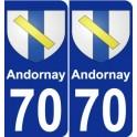 70 Andornay blason autocollant plaque stickers ville