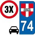 3 autocollants Style plaque immatriculation auto Département 74 Haute Savoie sticker