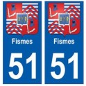 51 Fismes blason autocollant plaque stickers ville