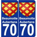 70 Beaumotte-Aubertans coat of arms sticker plate stickers city