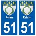 51 Reims blason autocollant plaque stickers ville