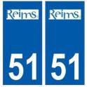 51 Reims logo autocollant plaque stickers ville