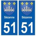 51 Sézanne blason autocollant plaque stickers ville