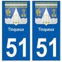 51 Tinqueux blason autocollant plaque stickers ville