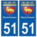 51 Vitry-le-François blason autocollant plaque stickers ville