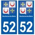 52 Bourbonne-les-Bains blason autocollant plaque stickers ville
