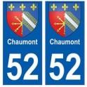 52 Chaumont blason autocollant plaque stickers ville