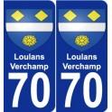 70 Loulans-Verchamp escudo de armas de la etiqueta engomada de la placa de pegatinas de la ciudad