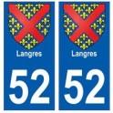 52 Langres blason autocollant plaque stickers ville